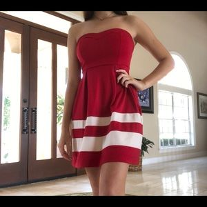 Red with White Monteau Strapless Dress